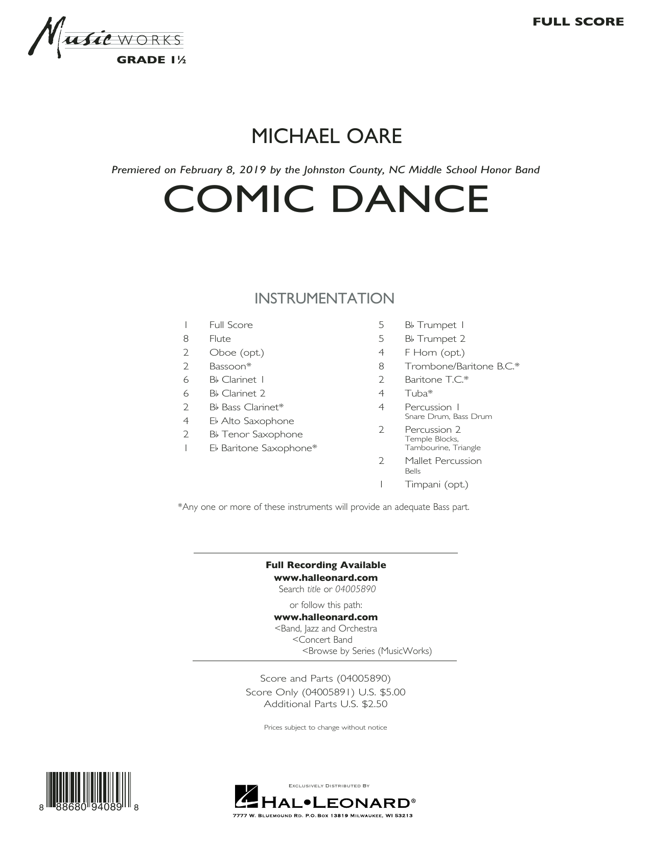 Michael Oare Comic Dance - Conductor Score (Full Score) sheet music preview music notes and score for Concert Band including 11 page(s)