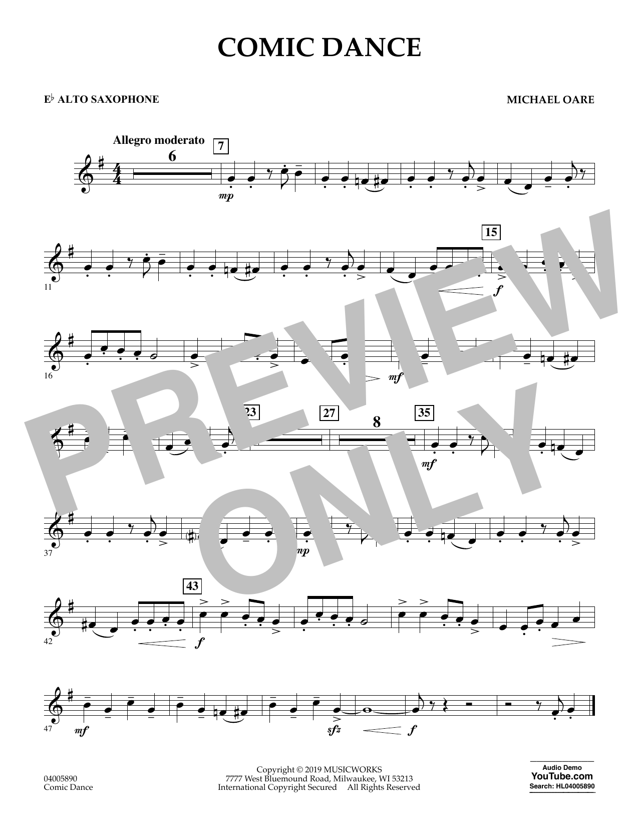 Michael Oare Comic Dance - Eb Alto Saxophone sheet music preview music notes and score for Concert Band including 1 page(s)
