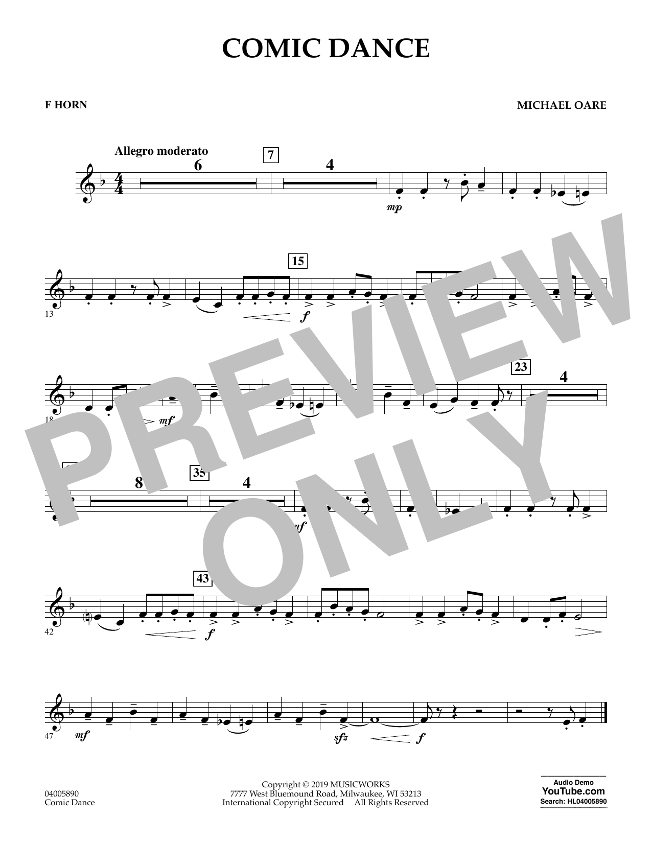 Michael Oare Comic Dance - F Horn sheet music preview music notes and score for Concert Band including 1 page(s)