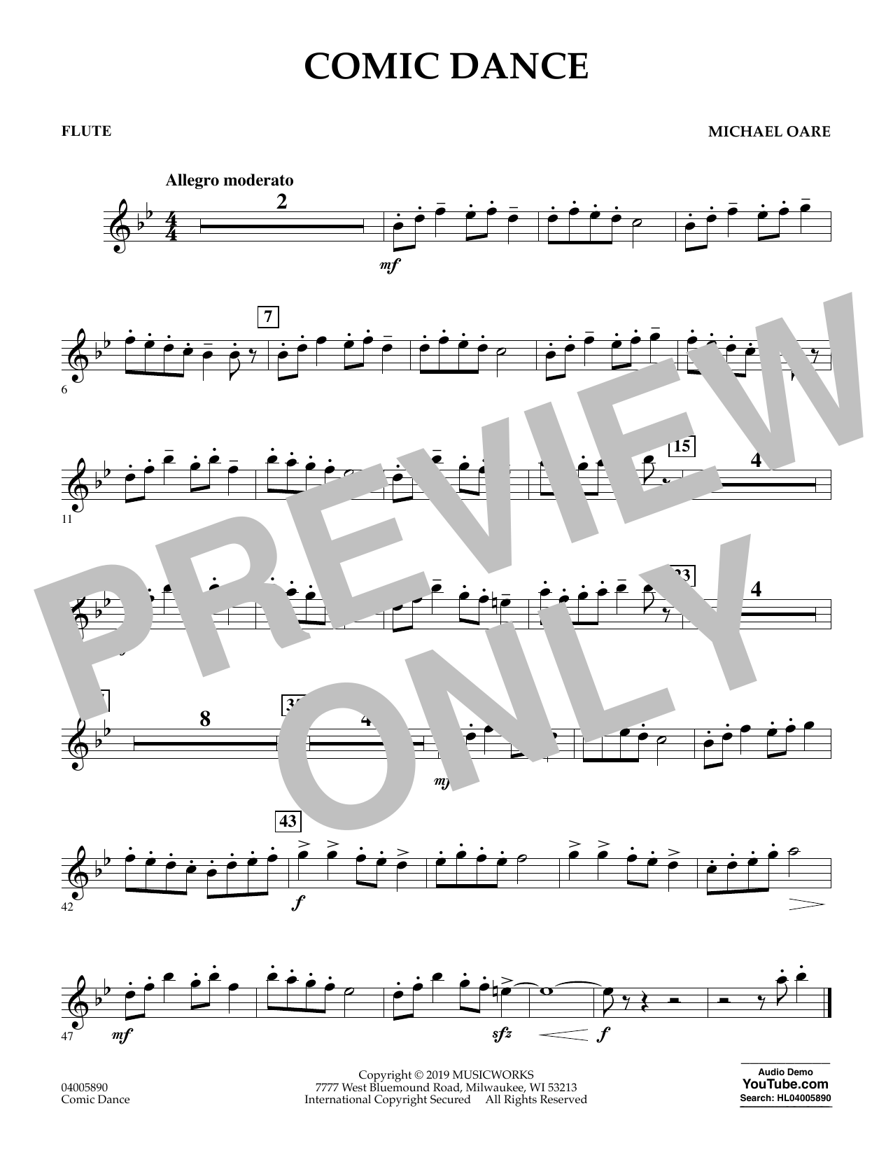 Michael Oare Comic Dance - Flute sheet music preview music notes and score for Concert Band including 1 page(s)