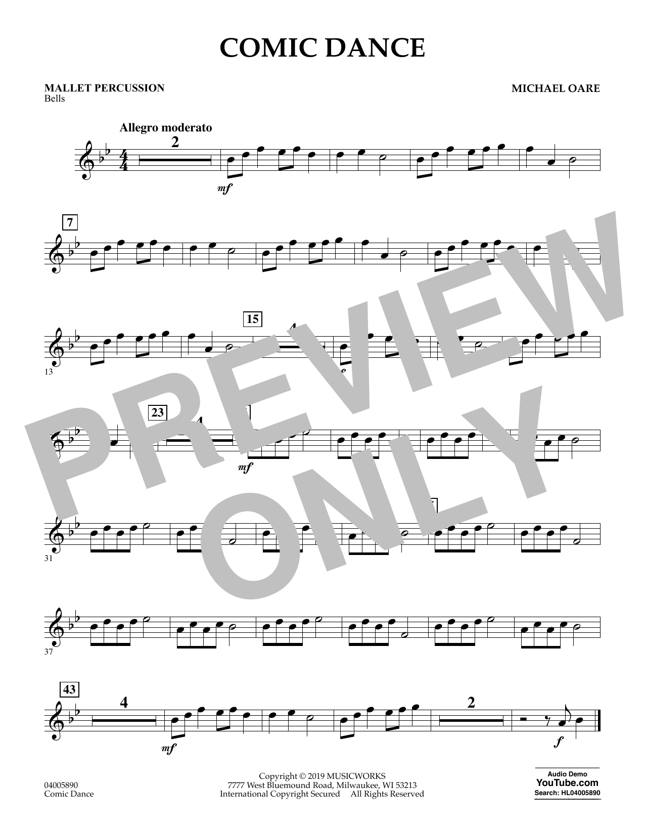 Michael Oare Comic Dance - Mallet Percussion sheet music preview music notes and score for Concert Band including 1 page(s)