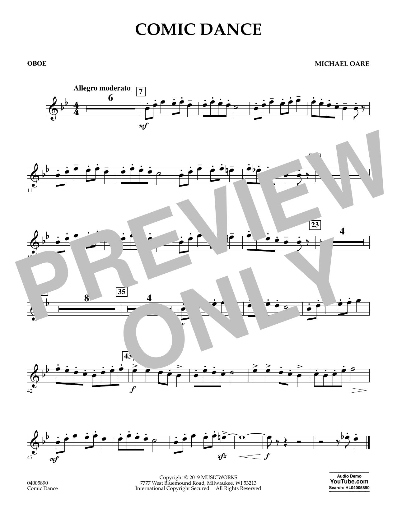 Michael Oare Comic Dance - Oboe sheet music preview music notes and score for Concert Band including 1 page(s)