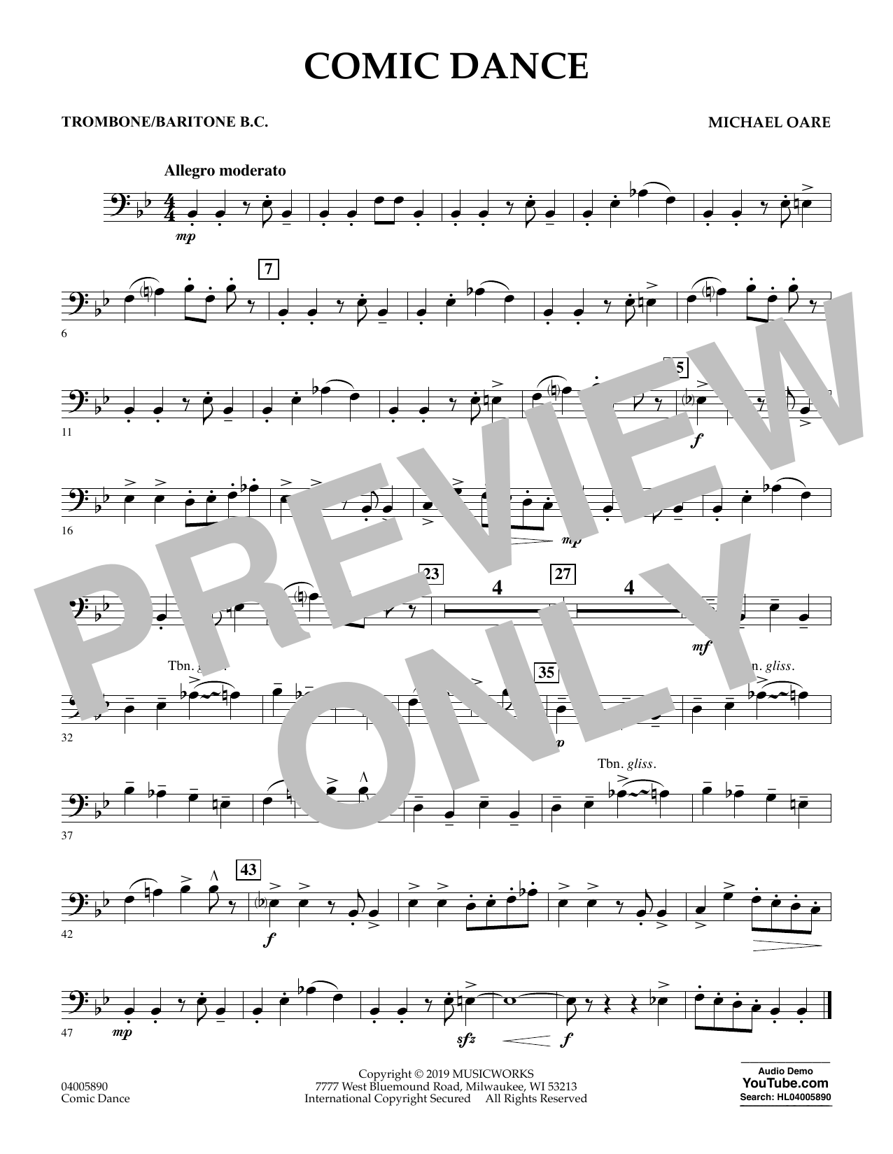 Michael Oare Comic Dance - Trombone/Baritone B.C. sheet music preview music notes and score for Concert Band including 1 page(s)