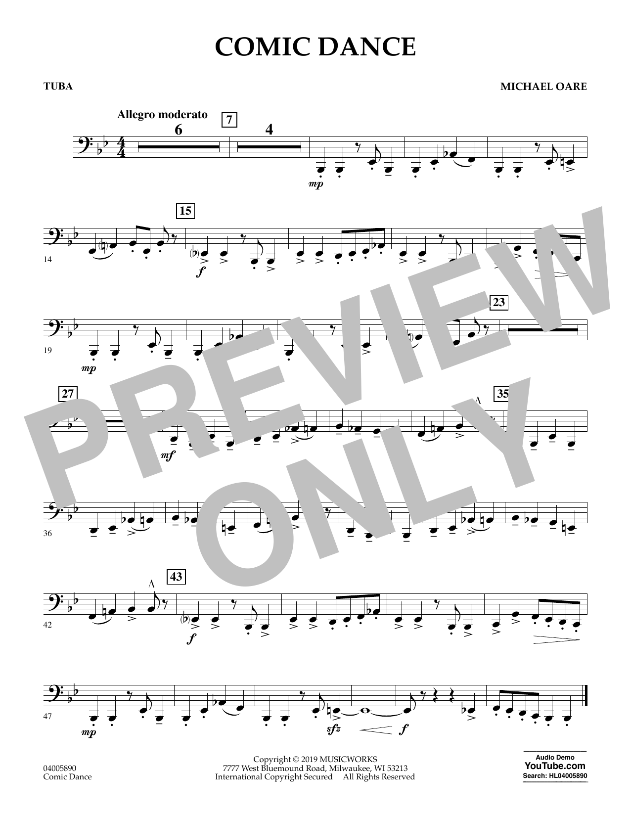 Michael Oare Comic Dance - Tuba sheet music preview music notes and score for Concert Band including 1 page(s)