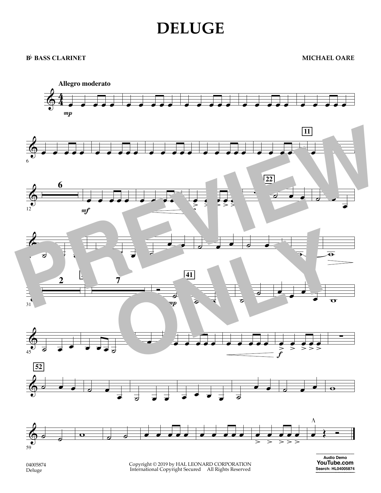 Michael Oare Deluge - Bb Bass Clarinet sheet music preview music notes and score for Concert Band including 1 page(s)