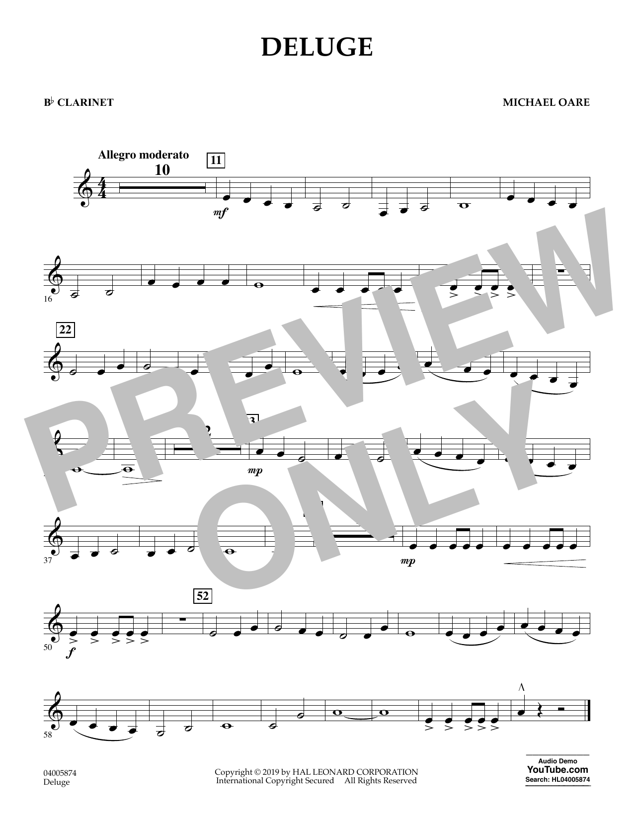 Michael Oare Deluge - Bb Clarinet sheet music preview music notes and score for Concert Band including 1 page(s)