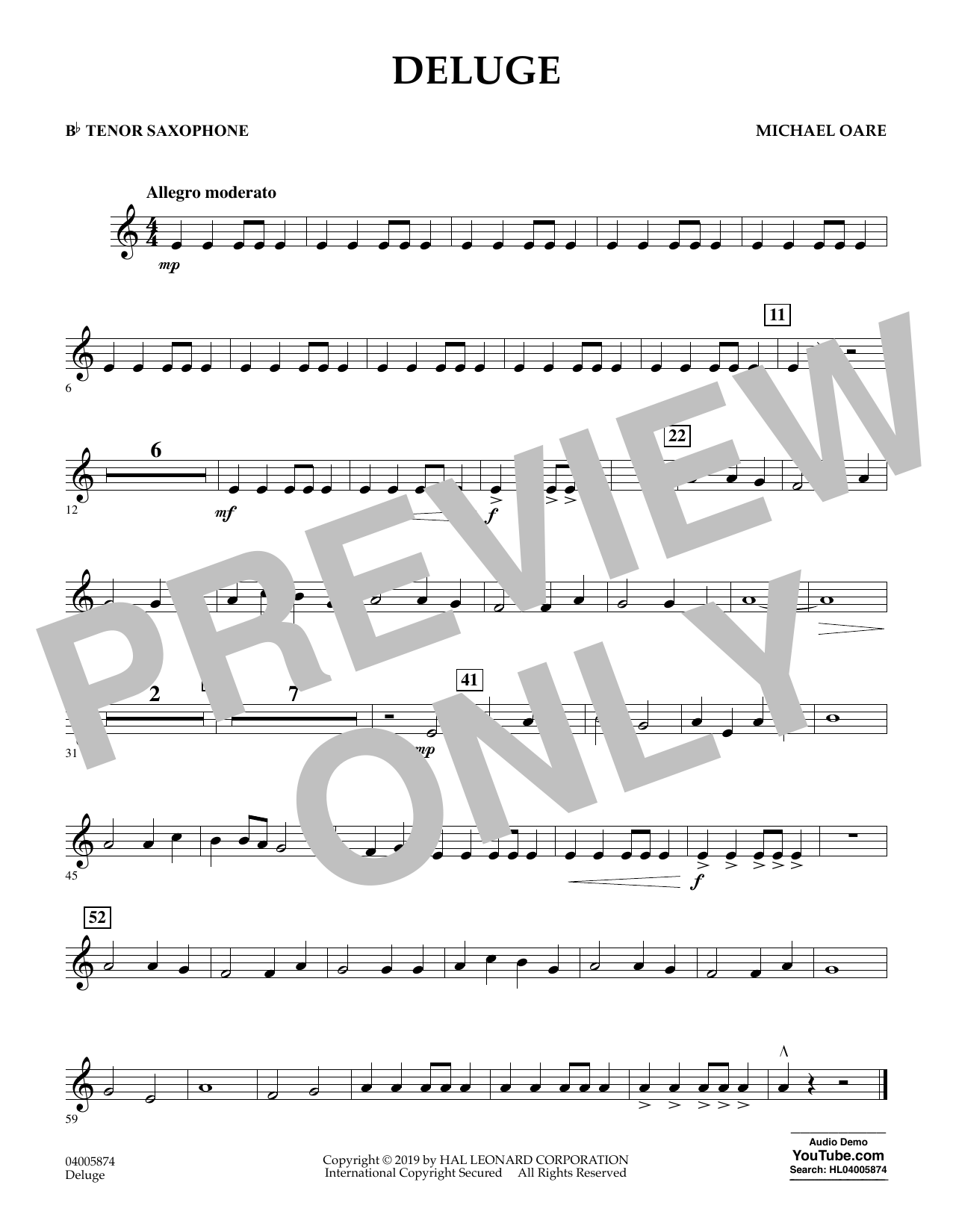 Michael Oare Deluge - Bb Tenor Saxophone sheet music preview music notes and score for Concert Band including 1 page(s)