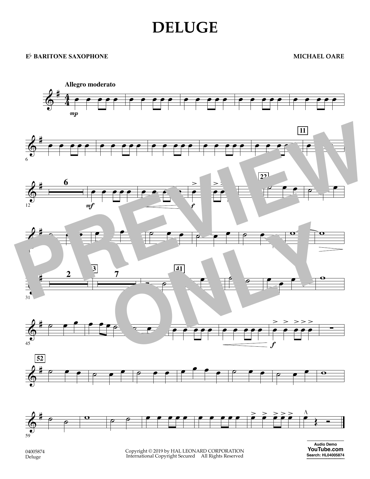 Michael Oare Deluge - Eb Baritone Saxophone sheet music preview music notes and score for Concert Band including 1 page(s)