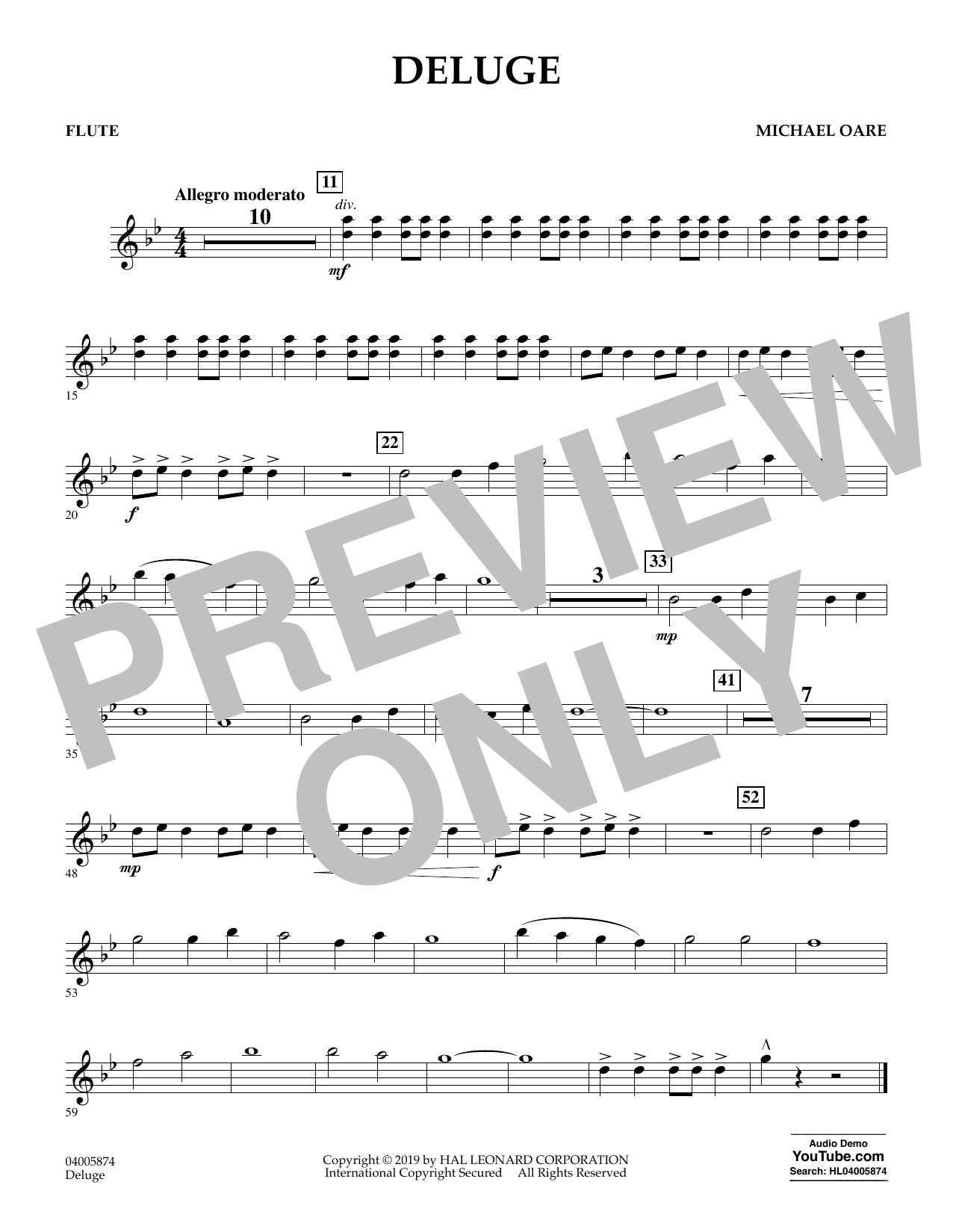 Michael Oare Deluge - Flute sheet music preview music notes and score for Concert Band including 1 page(s)
