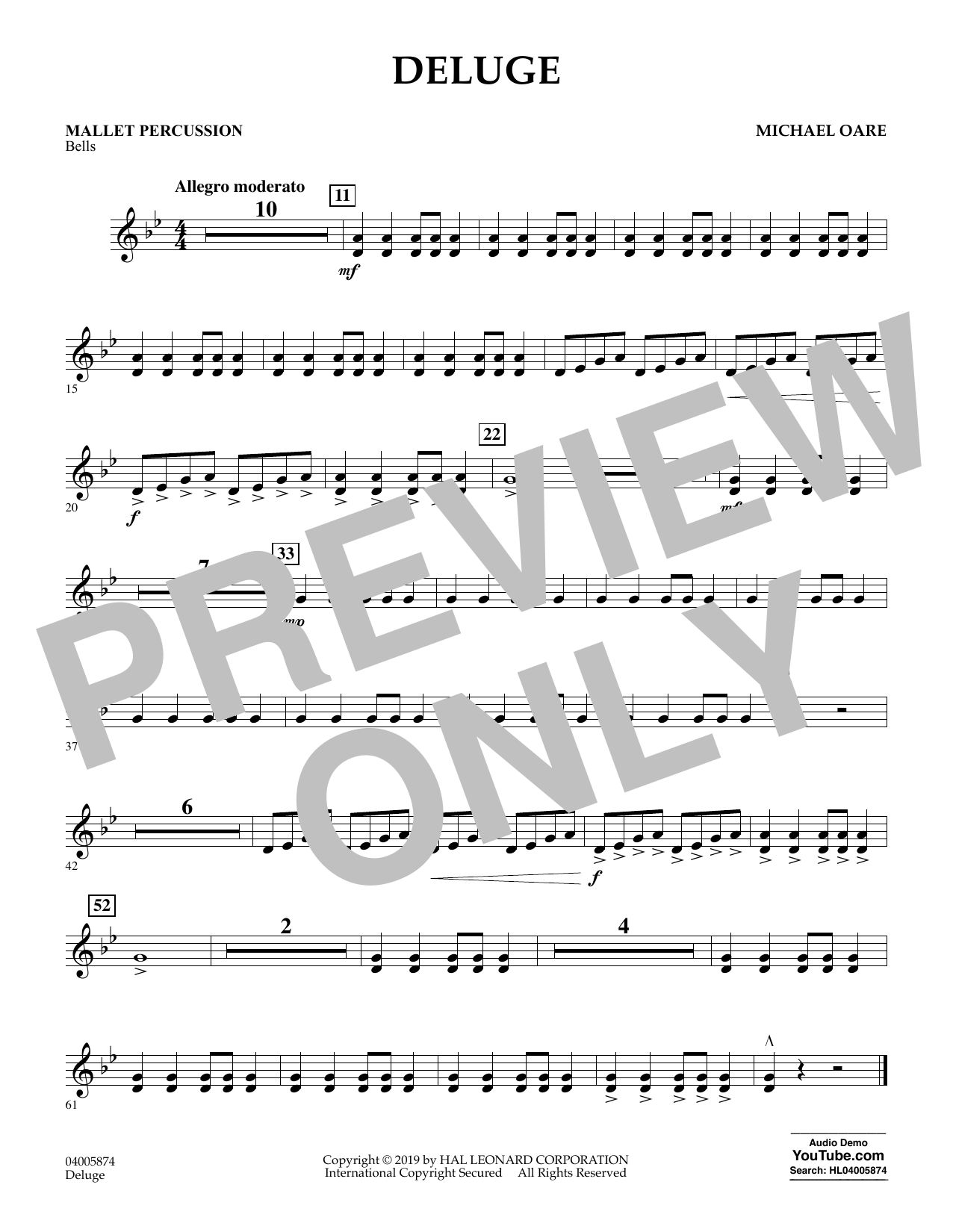 Michael Oare Deluge - Mallet Percussion sheet music preview music notes and score for Concert Band including 1 page(s)
