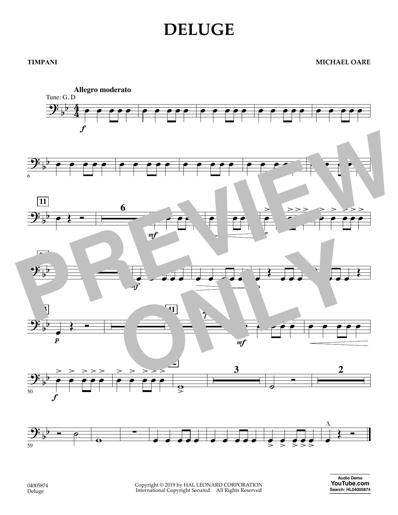 Michael Oare Deluge - Timpani sheet music preview music notes and score for Concert Band including 1 page(s)