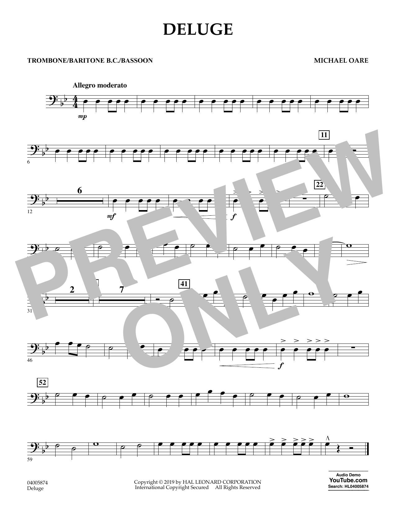 Michael Oare Deluge - Trombone/Baritone B.C./Bassoon sheet music preview music notes and score for Concert Band including 1 page(s)