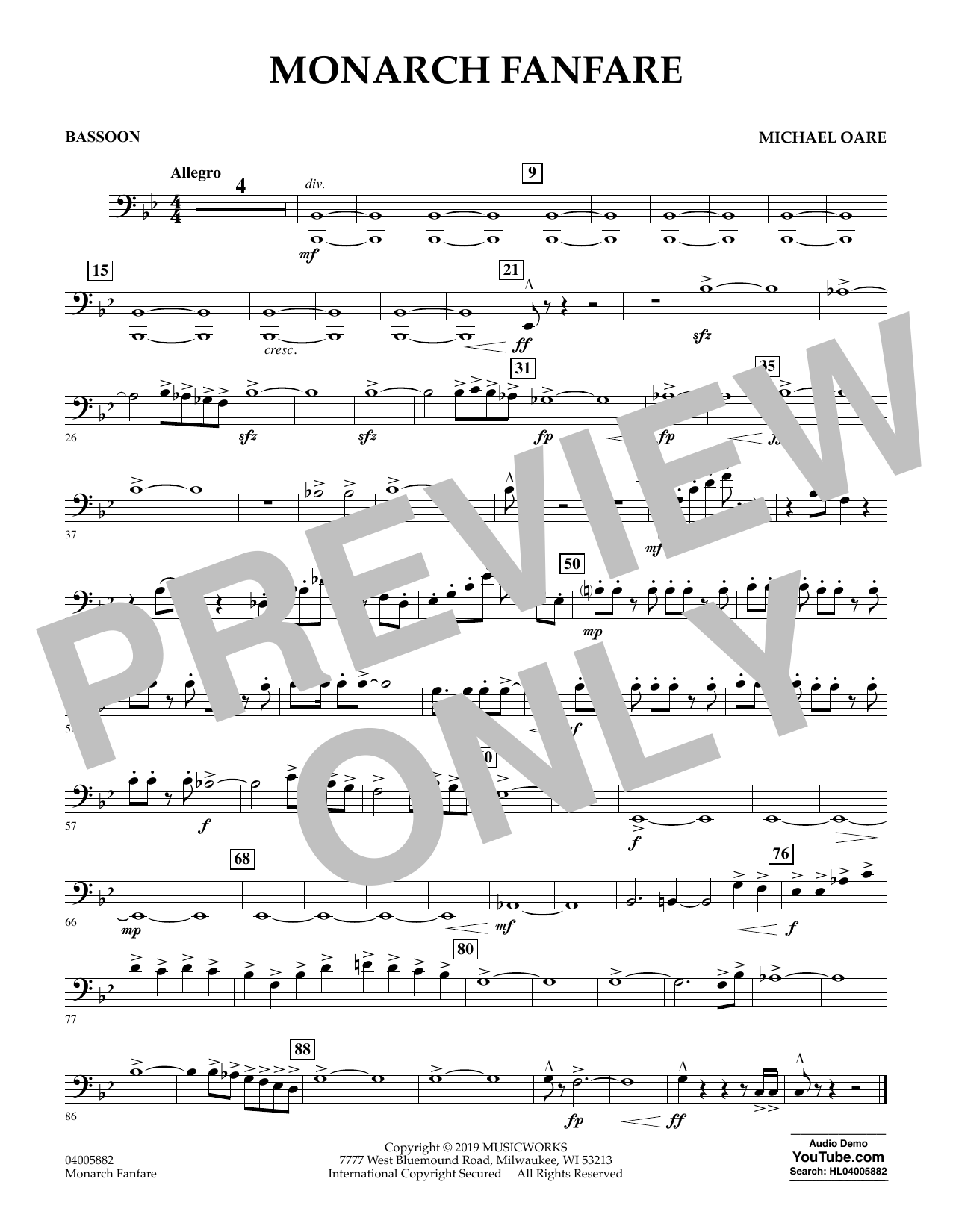 Michael Oare Monarch Fanfare - Bassoon sheet music preview music notes and score for Concert Band including 1 page(s)