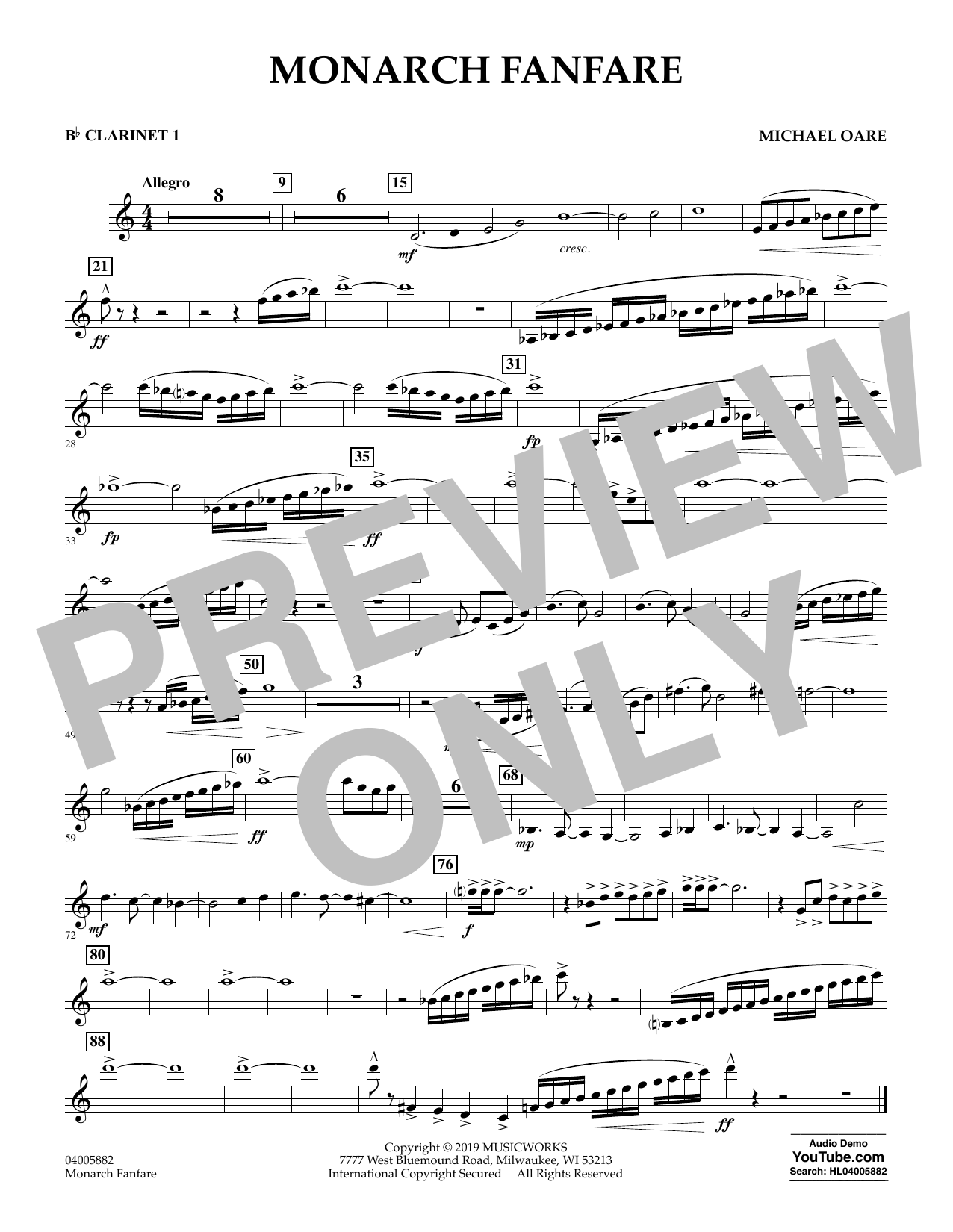 Michael Oare Monarch Fanfare - Bb Clarinet 1 sheet music preview music notes and score for Concert Band including 1 page(s)