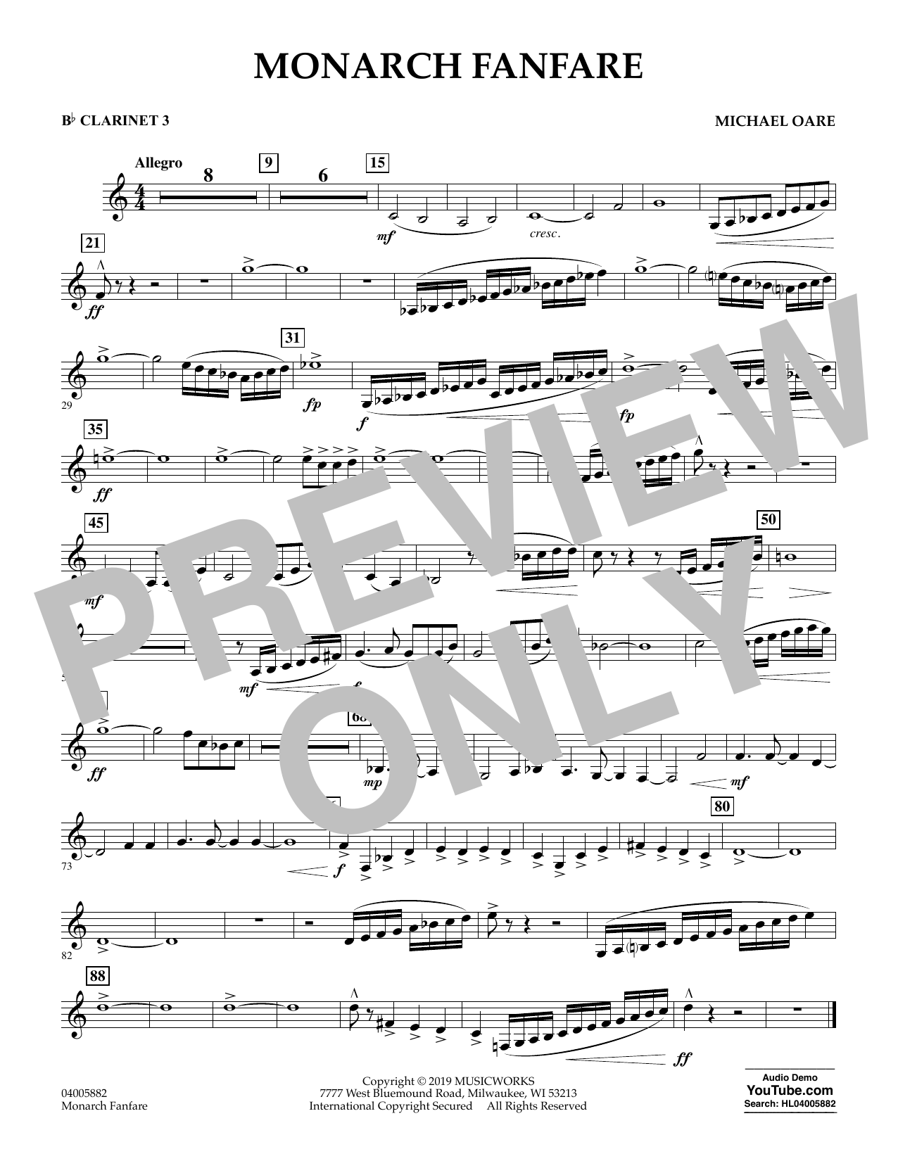 Michael Oare Monarch Fanfare - Bb Clarinet 3 sheet music preview music notes and score for Concert Band including 1 page(s)
