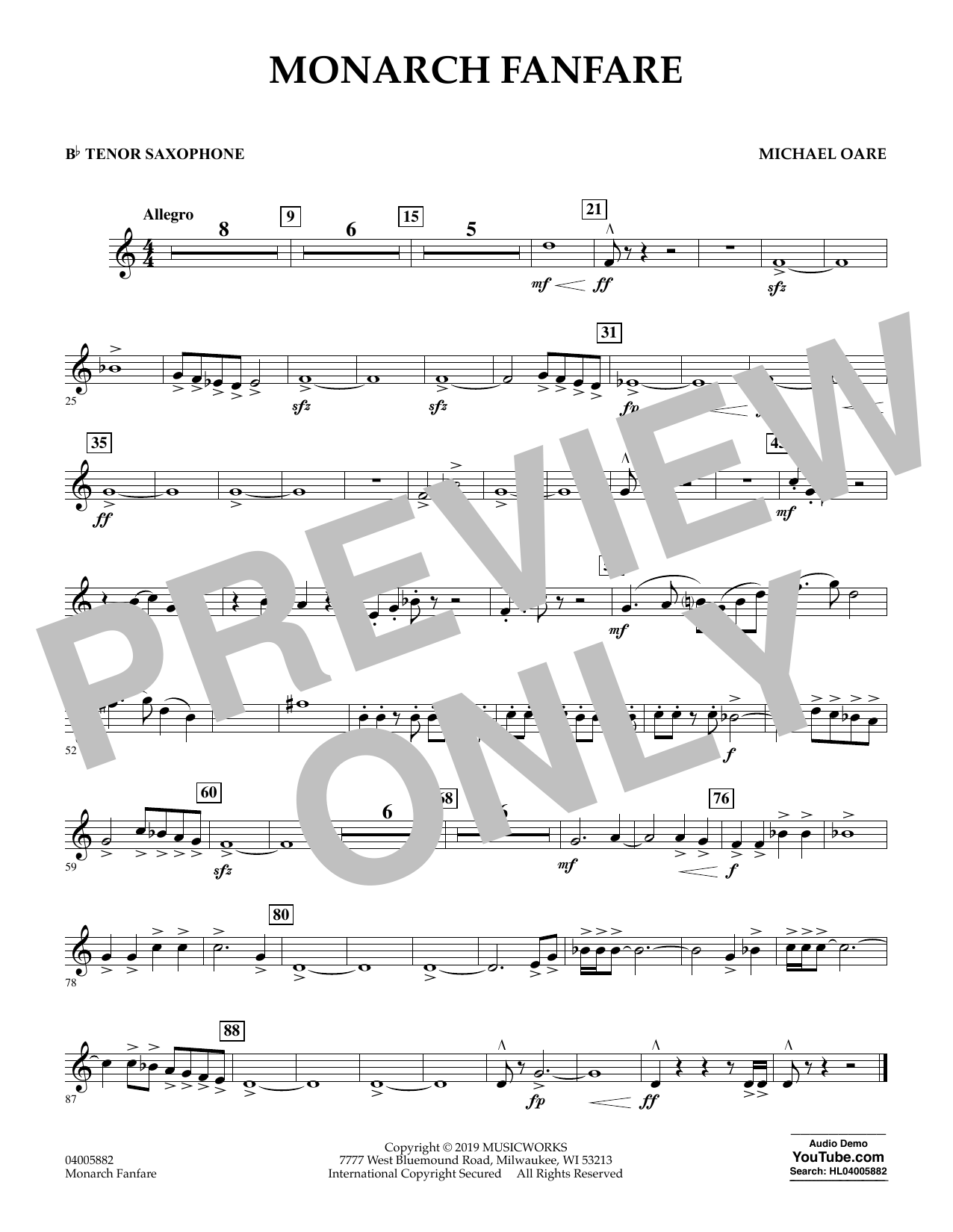 Michael Oare Monarch Fanfare - Bb Tenor Saxophone sheet music preview music notes and score for Concert Band including 1 page(s)
