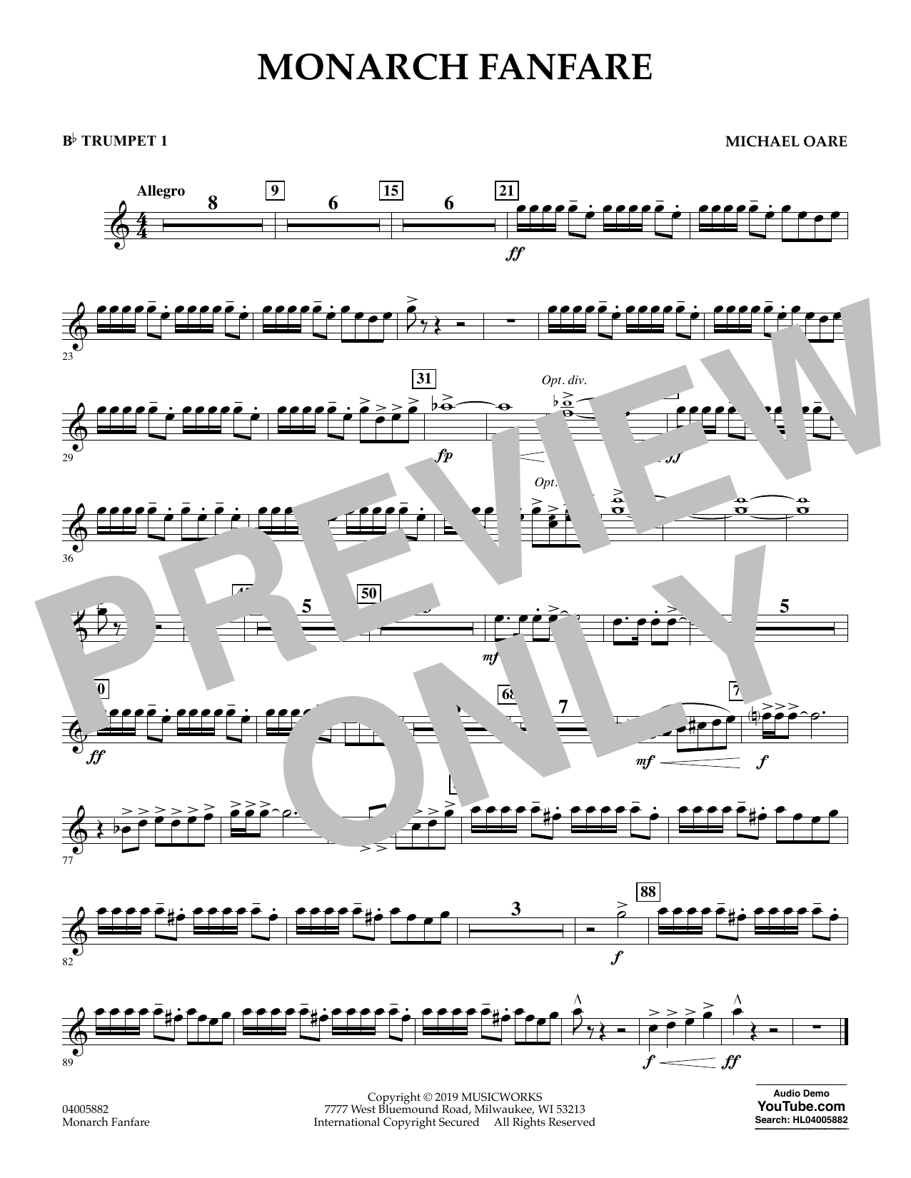 Michael Oare Monarch Fanfare - Bb Trumpet 1 sheet music preview music notes and score for Concert Band including 1 page(s)
