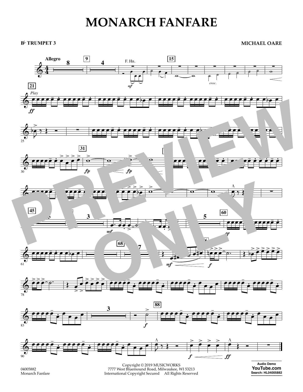 Michael Oare Monarch Fanfare - Bb Trumpet 3 sheet music preview music notes and score for Concert Band including 1 page(s)