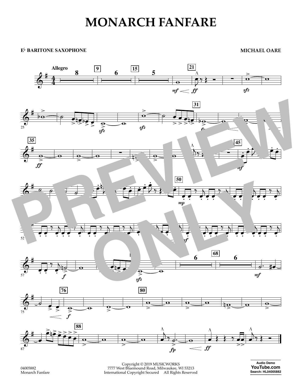 Michael Oare Monarch Fanfare - Eb Baritone Saxophone sheet music preview music notes and score for Concert Band including 1 page(s)
