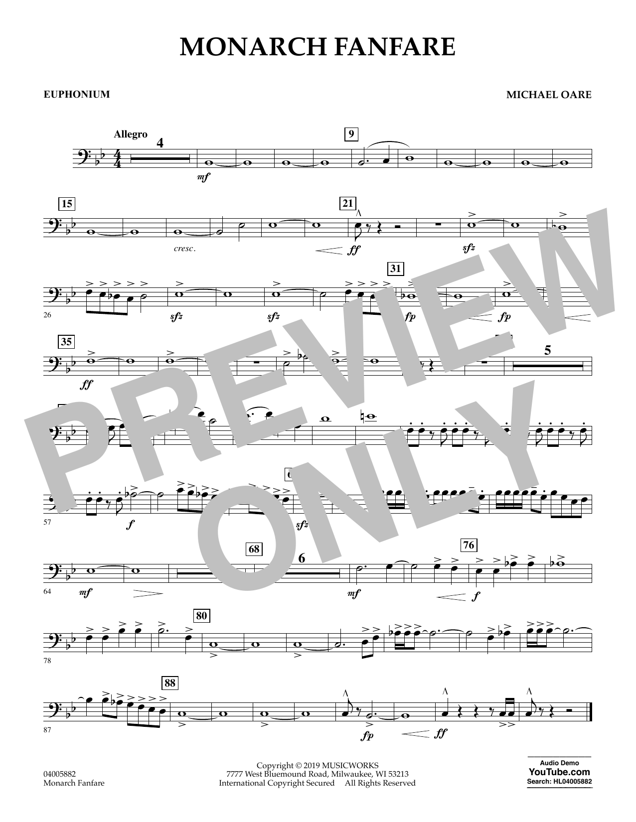Michael Oare Monarch Fanfare - Euphonium in Bass Clef sheet music preview music notes and score for Concert Band including 1 page(s)