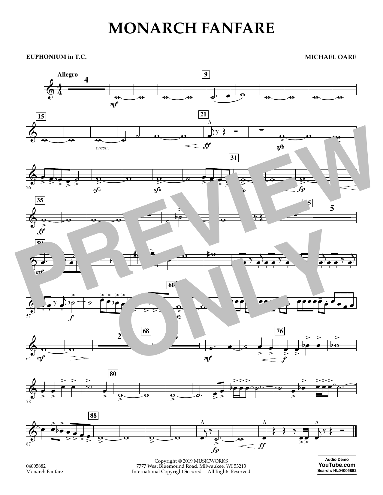 Michael Oare Monarch Fanfare - Euphonium in Treble Clef sheet music preview music notes and score for Concert Band including 1 page(s)