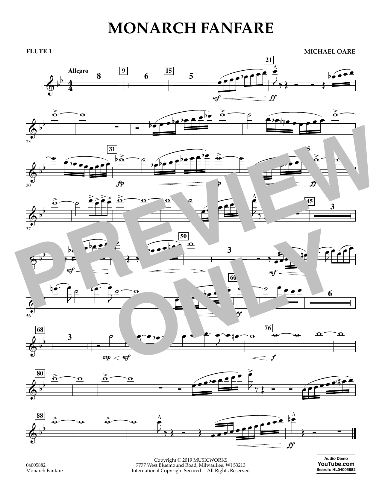 Michael Oare Monarch Fanfare - Flute 1 sheet music preview music notes and score for Concert Band including 1 page(s)