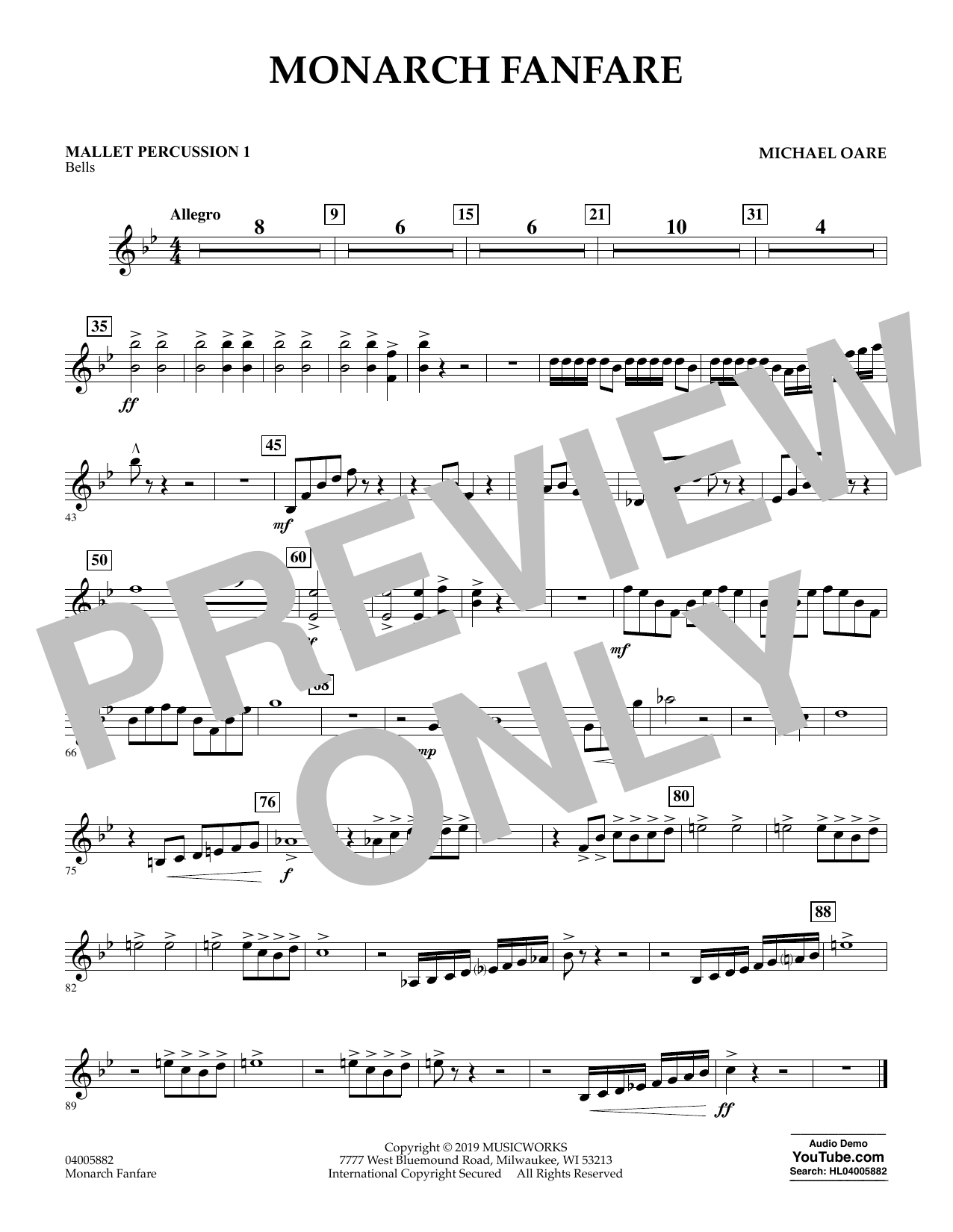 Michael Oare Monarch Fanfare - Mallet Percussion 1 sheet music preview music notes and score for Concert Band including 1 page(s)