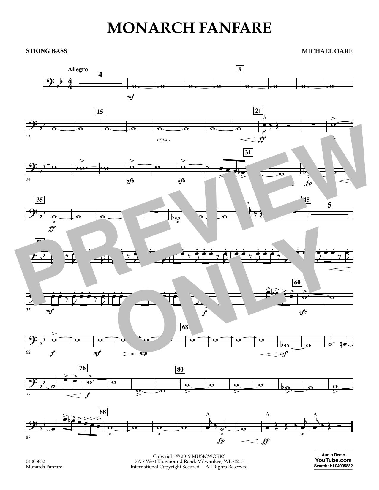 Michael Oare Monarch Fanfare - String Bass sheet music preview music notes and score for Concert Band including 1 page(s)