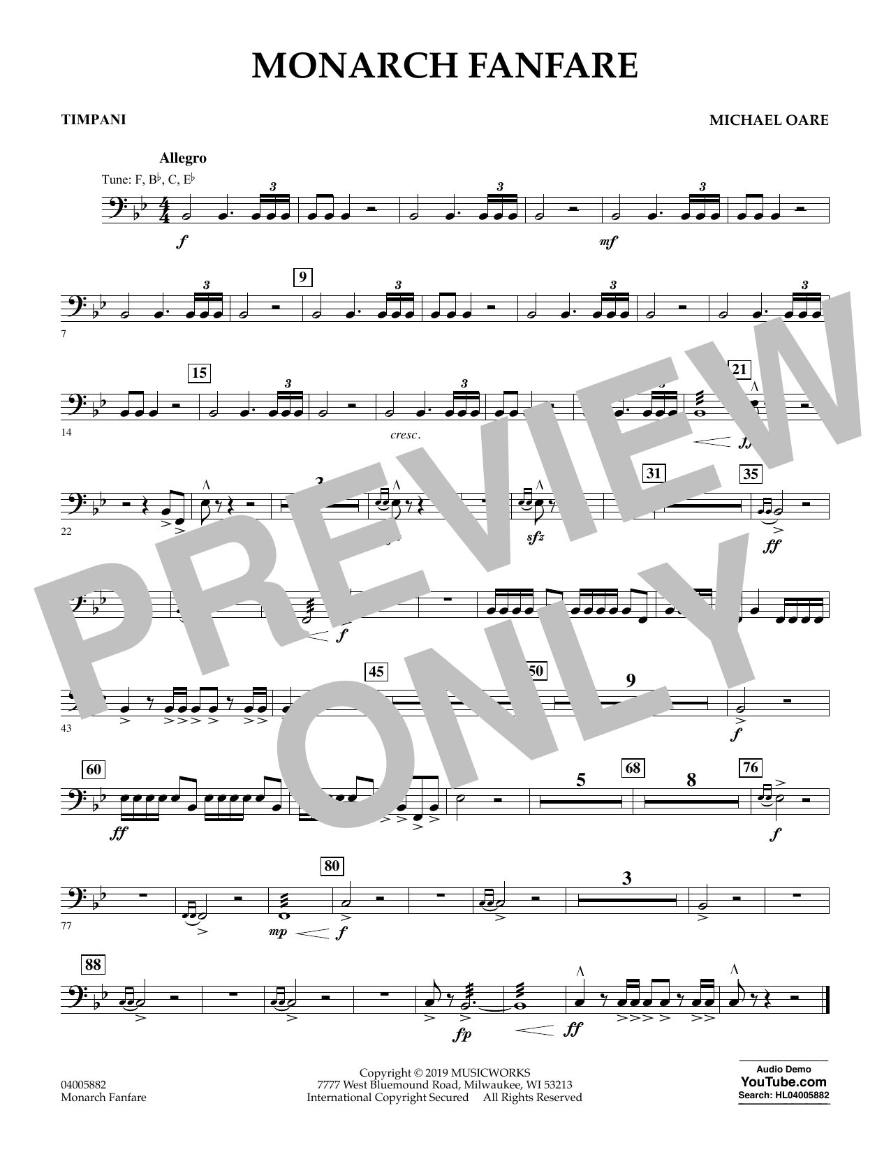 Michael Oare Monarch Fanfare - Timpani sheet music preview music notes and score for Concert Band including 1 page(s)