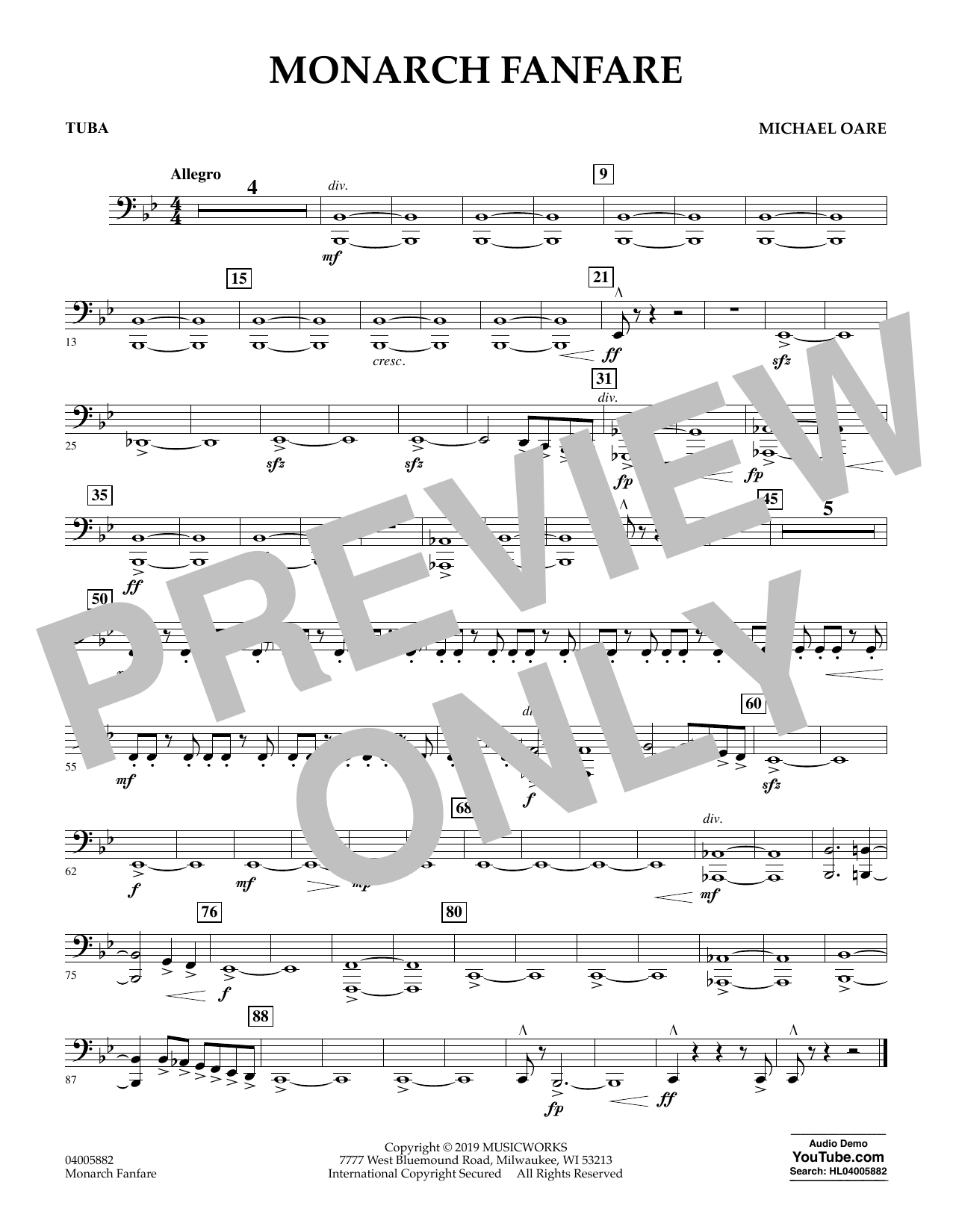 Michael Oare Monarch Fanfare - Tuba sheet music preview music notes and score for Concert Band including 1 page(s)