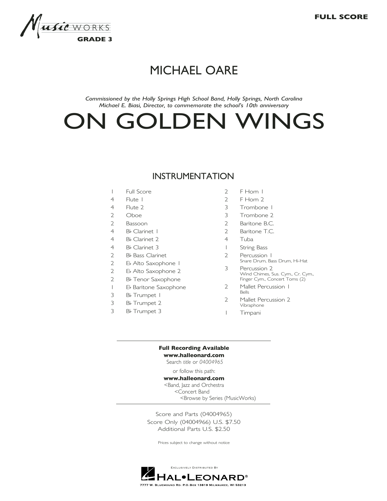 Michael Oare On Golden Wings - Conductor Score (Full Score) sheet music preview music notes and score for Concert Band including 27 page(s)