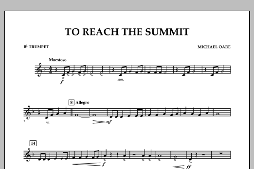 Michael Oare To Reach the Summit - Bb Trumpet sheet music notes and chords