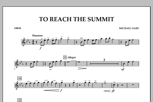 Michael Oare To Reach the Summit - Oboe sheet music notes and chords