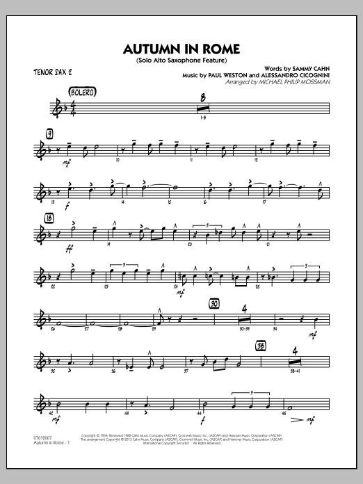 Michael Philip Mossman Autumn in Rome - Tenor Sax 2 sheet music notes and chords