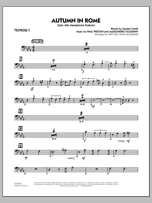 Michael Philip Mossman Autumn in Rome - Trombone 3 sheet music notes and chords
