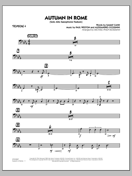 Michael Philip Mossman Autumn in Rome - Trombone 4 sheet music notes and chords