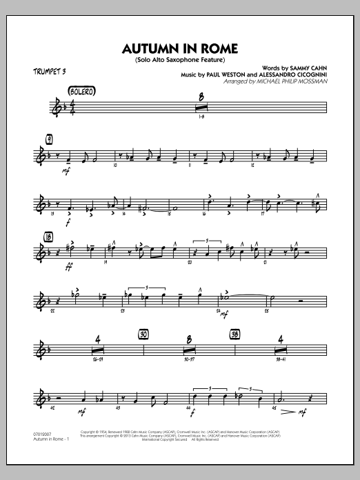 Michael Philip Mossman Autumn in Rome - Trumpet 3 sheet music notes and chords