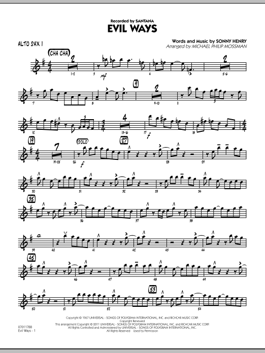 Michael Philip Mossman Evil Ways - Alto Sax 1 sheet music preview music notes and score for Jazz Ensemble including 3 page(s)