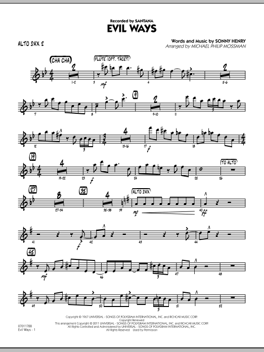 Michael Philip Mossman Evil Ways - Alto Sax 2 sheet music preview music notes and score for Jazz Ensemble including 3 page(s)