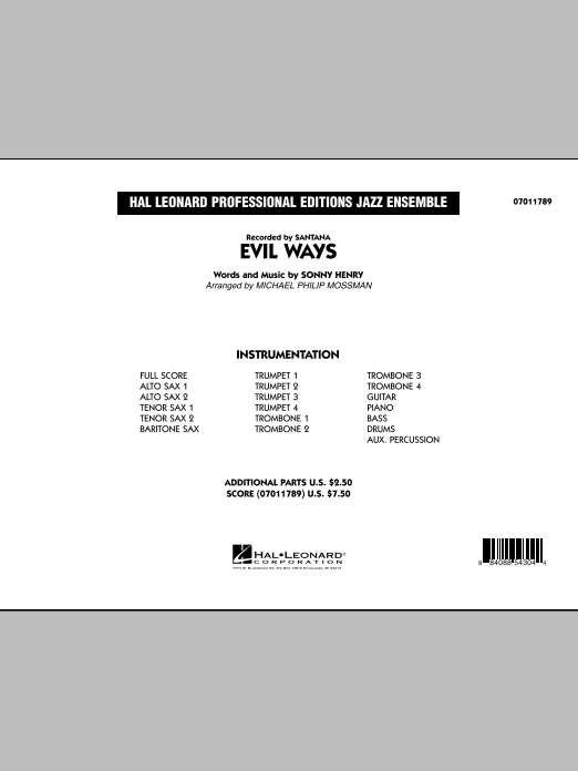 Michael Philip Mossman Evil Ways - Conductor Score (Full Score) sheet music preview music notes and score for Jazz Ensemble including 20 page(s)