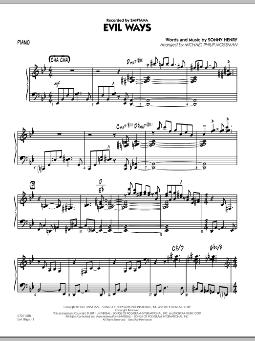 Michael Philip Mossman Evil Ways - Piano sheet music preview music notes and score for Jazz Ensemble including 8 page(s)