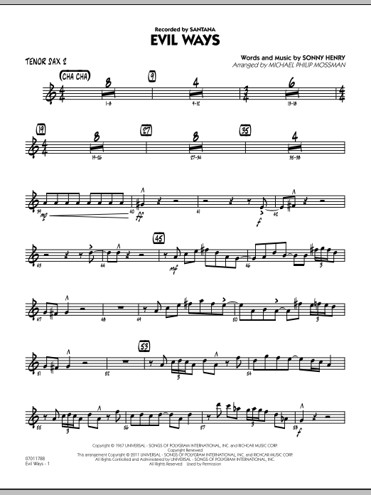Michael Philip Mossman Evil Ways - Tenor Sax 2 sheet music preview music notes and score for Jazz Ensemble including 3 page(s)
