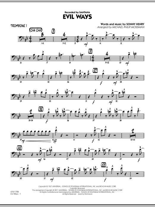 Michael Philip Mossman Evil Ways - Trombone 1 sheet music preview music notes and score for Jazz Ensemble including 3 page(s)