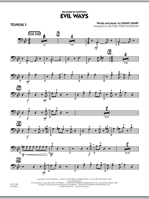 Michael Philip Mossman Evil Ways - Trombone 3 sheet music preview music notes and score for Jazz Ensemble including 3 page(s)