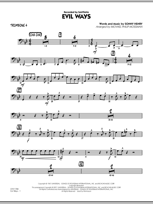 Michael Philip Mossman Evil Ways - Trombone 4 sheet music preview music notes and score for Jazz Ensemble including 3 page(s)