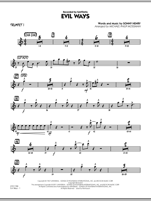Michael Philip Mossman Evil Ways - Trumpet 1 sheet music preview music notes and score for Jazz Ensemble including 3 page(s)