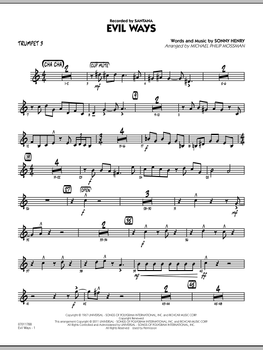 Michael Philip Mossman Evil Ways - Trumpet 3 sheet music preview music notes and score for Jazz Ensemble including 3 page(s)
