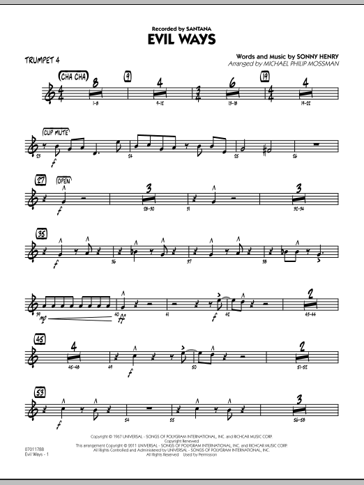 Michael Philip Mossman Evil Ways - Trumpet 4 sheet music preview music notes and score for Jazz Ensemble including 3 page(s)