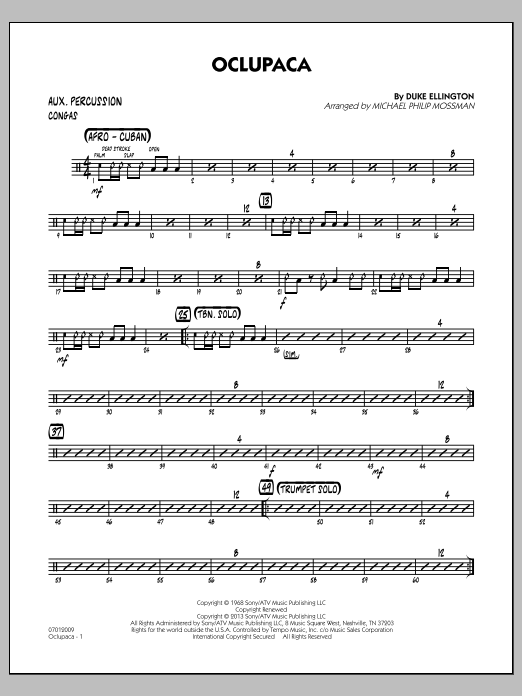 Michael Philip Mossman Oclupaca - Aux Percussion sheet music notes and chords