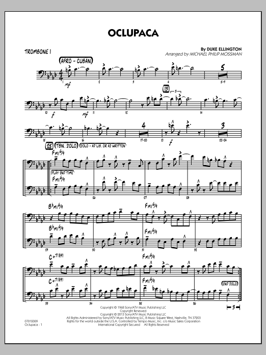 Michael Philip Mossman Oclupaca - Trombone 1 sheet music notes and chords